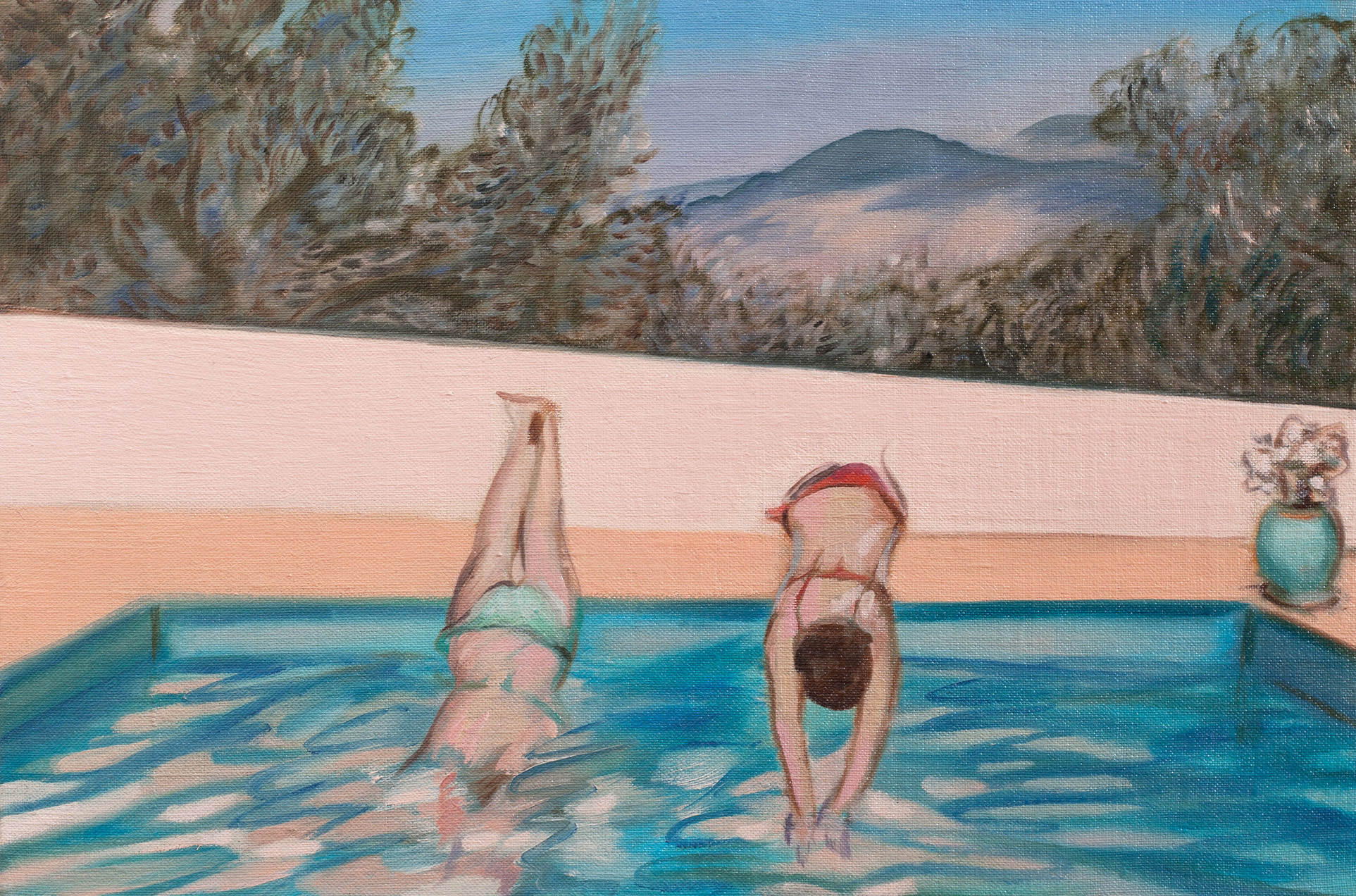 Peach Dive , Oil on linen board, 20 x 30 cm, 2016. Photograph courtesy of Taryn Ellis