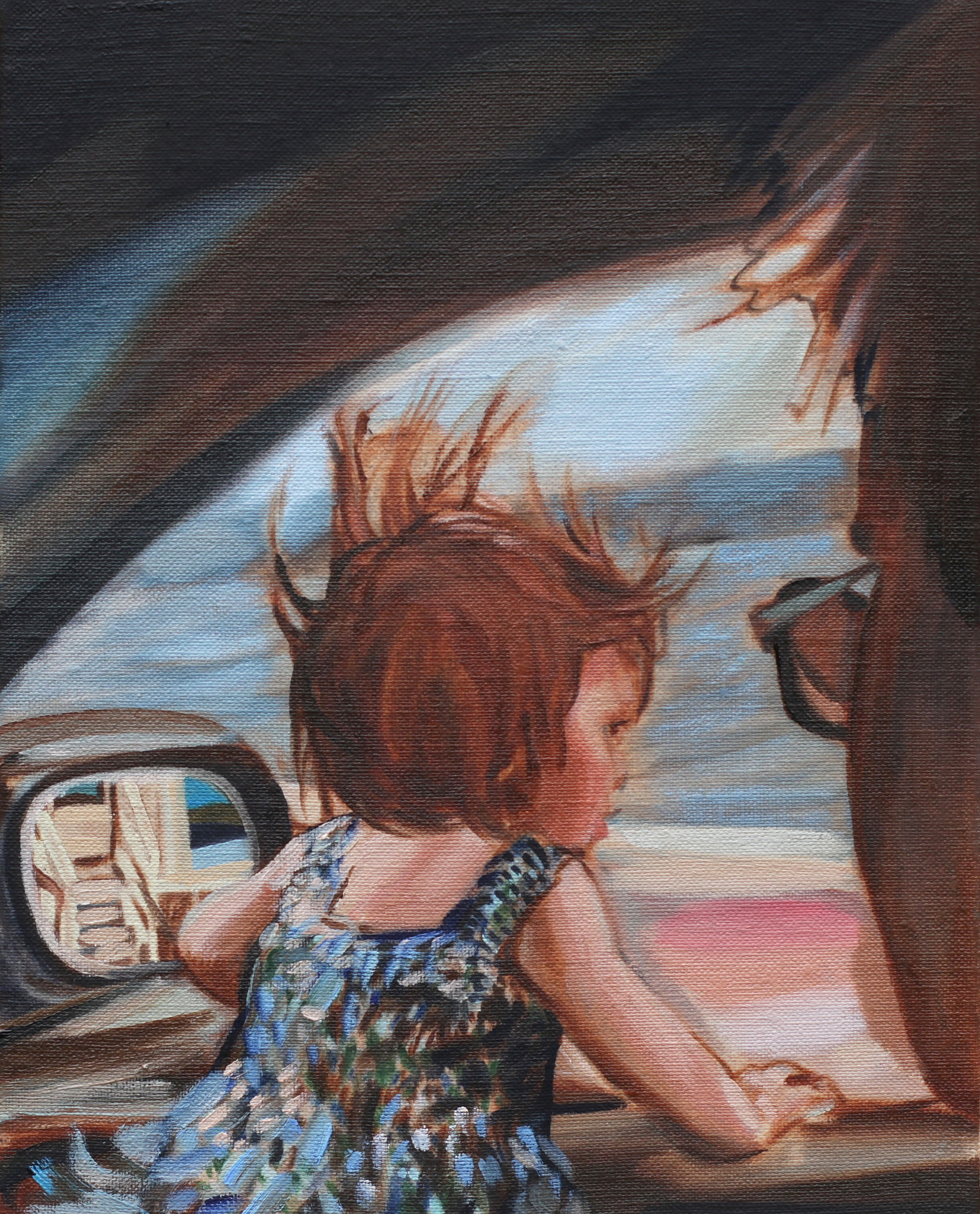 Rearview , Oil on linen board, 23 x 16 cm, 2016.