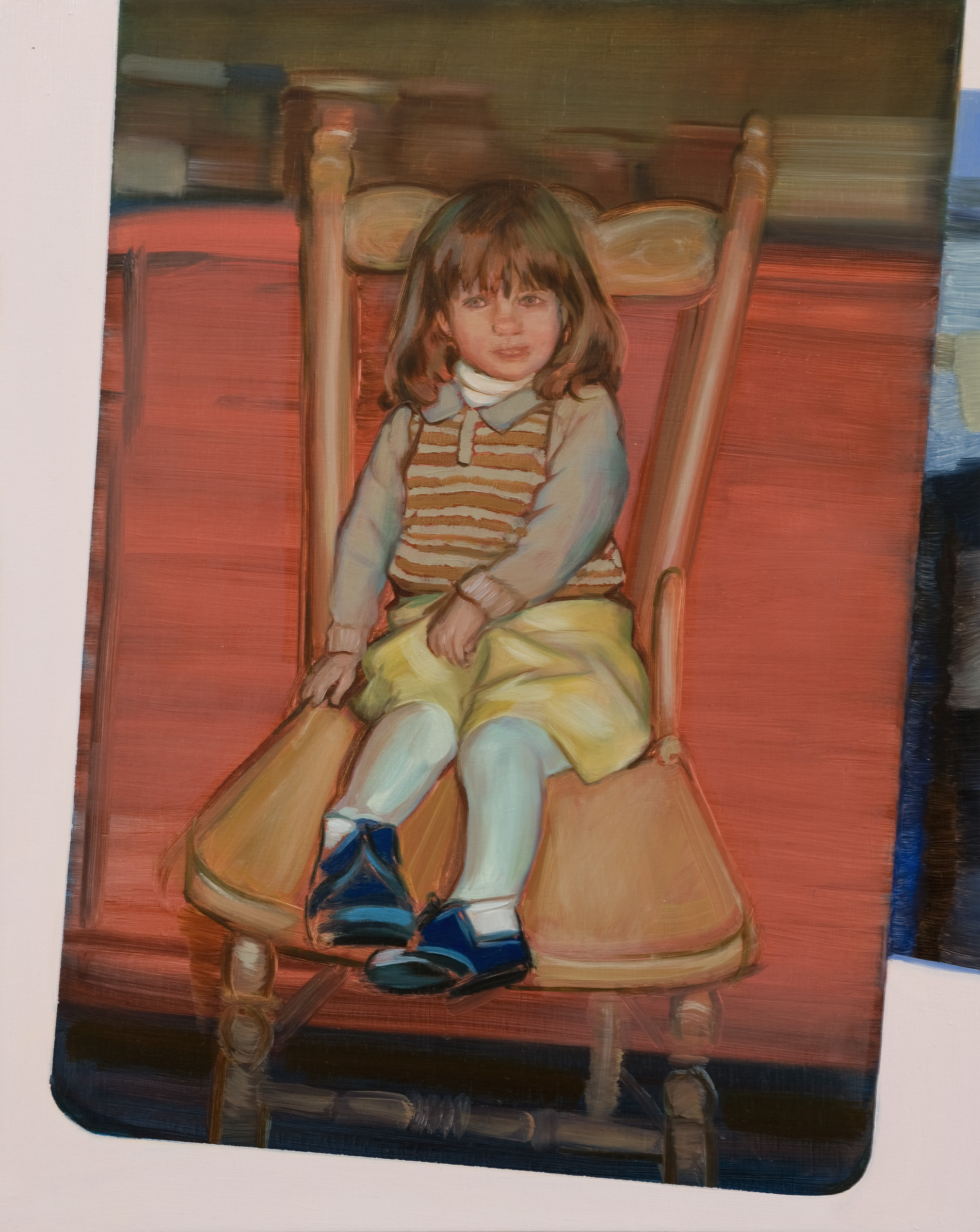 Highchair,  Oil on board with Vic Ash frame, 50 x 40 cm, 2011. Photograph courtesy of Jake Walker