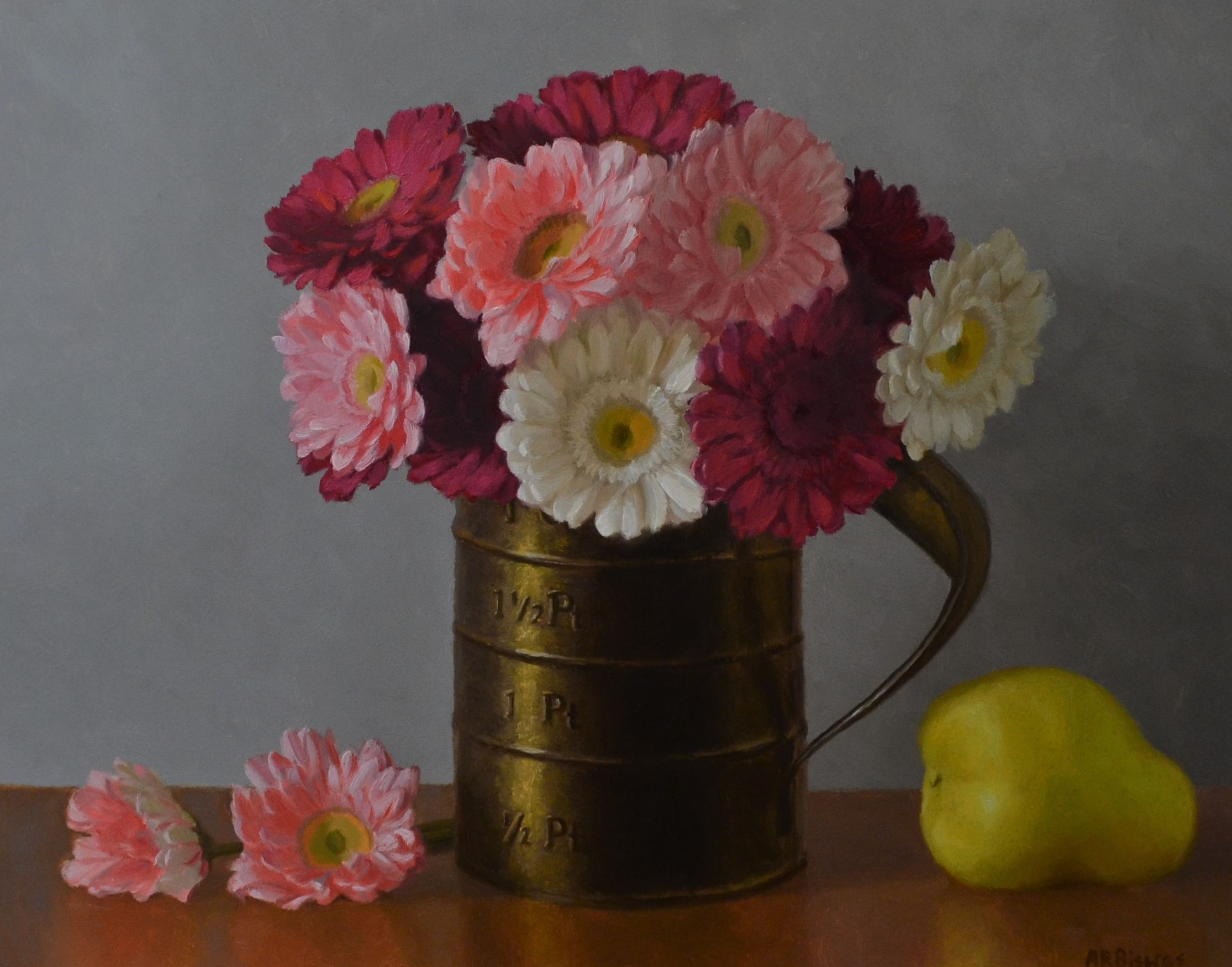Gerberas and a pear