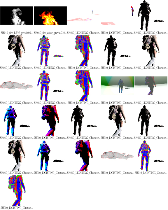 contact sheet of the passes from v-ray