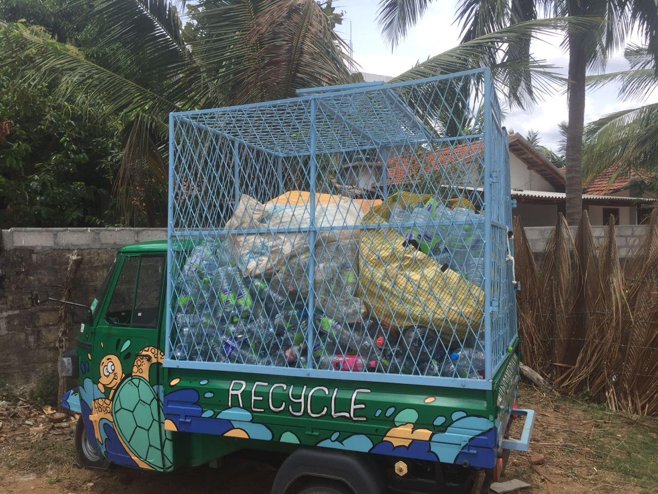 We build a big cache on our three wheeler. The problem is big and so difficult for waste management because we mainly transport air!