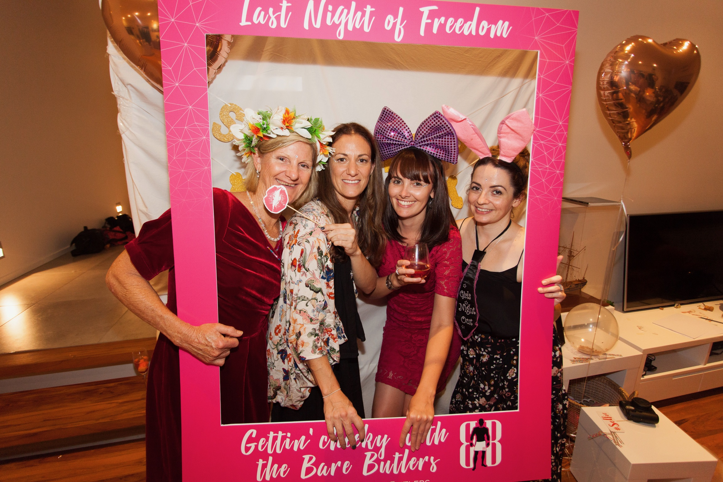 Selfie frame with topless waiters at Hen's night party