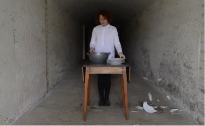 At Home, At War,   2018     Video still from performance       Washing the Ware