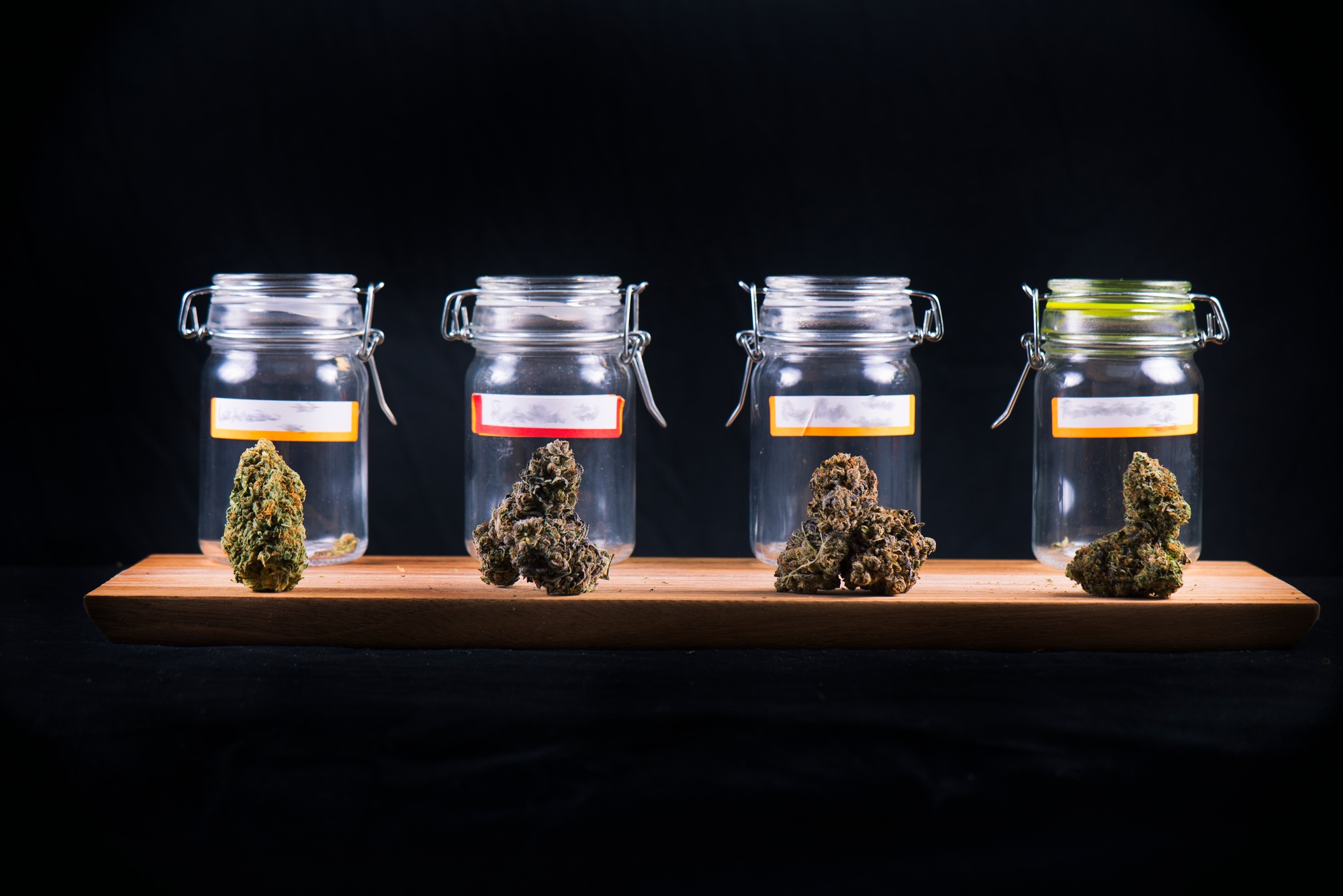 Assorted cannabis bud strains and glass jars - medical marijuana dispensary concept.jpg