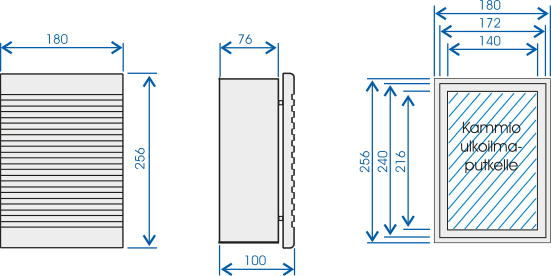 Dimensions for the Mobair 2010 supply air valve