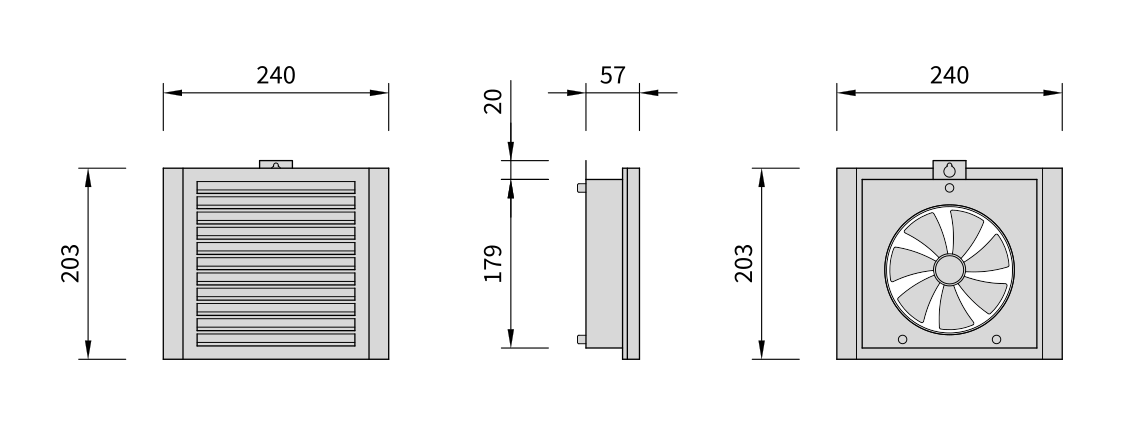 Dimensions for the Mobair 2030S supply air valve