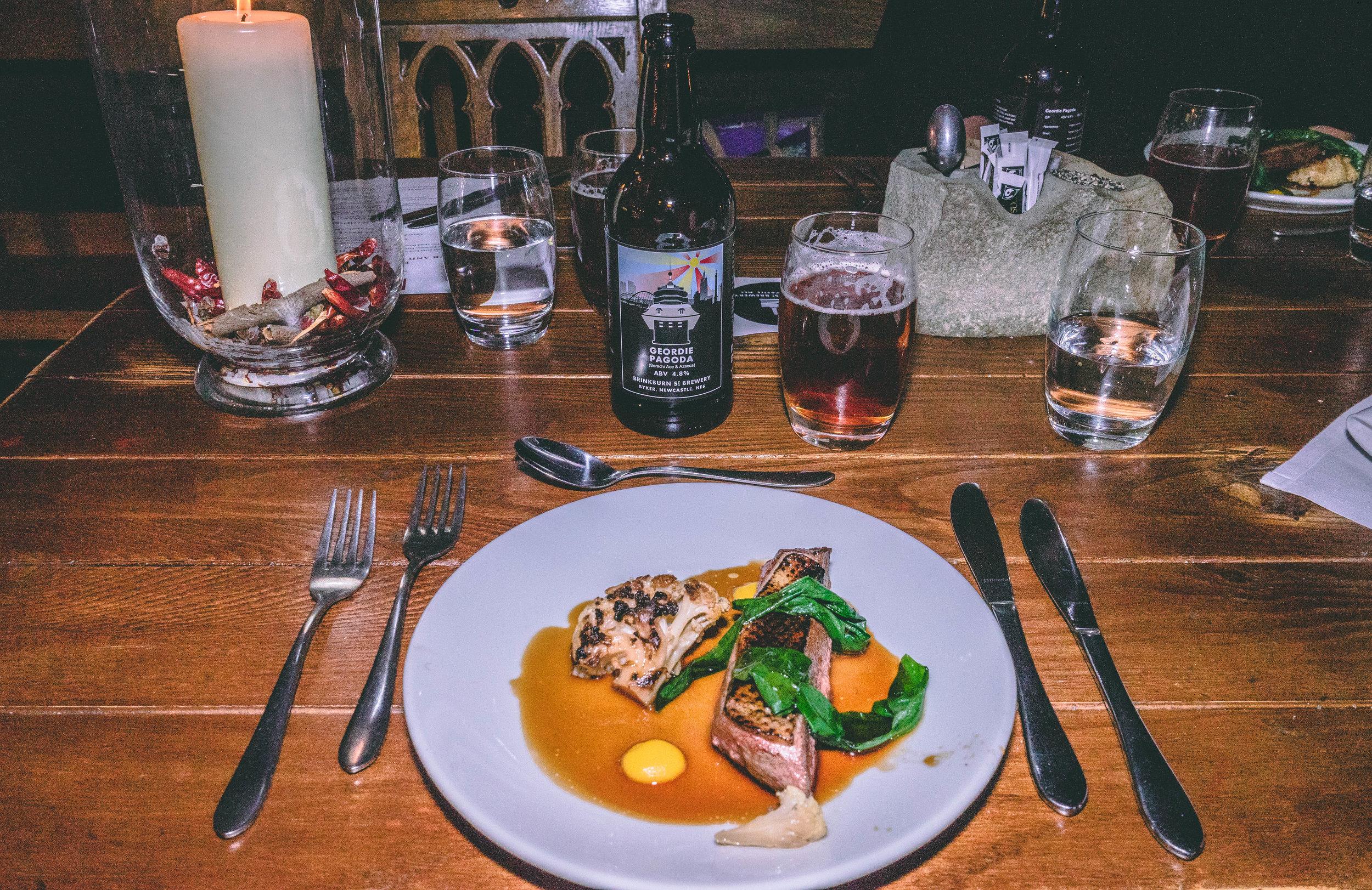 Barbary duck breast, orange puree, roast cauliflower & wild garlic with Geordie Pagoda – 4.8%.jpg