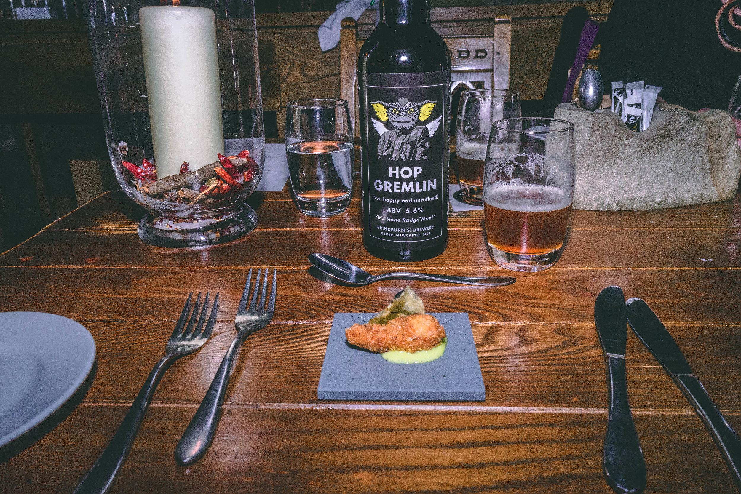 North Sea scampi, wasabi hollandaise & crispy potato with Hop Gremlin – 5.6%.jpg