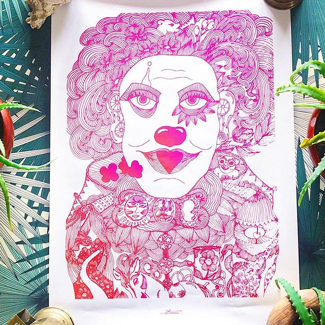 The clown of the jungle in my head 🎪🌸 - - - - - - - - - - #shop #onlineshop #art #deco #design #interior #handmade #illustration #illustrator #graphicdesign #artist #french #lyon #paris #poster #posters #posterdesign #photography #quality #picoftheday #work #flower #lines #details #linesart #circus #clowndesign #clown
