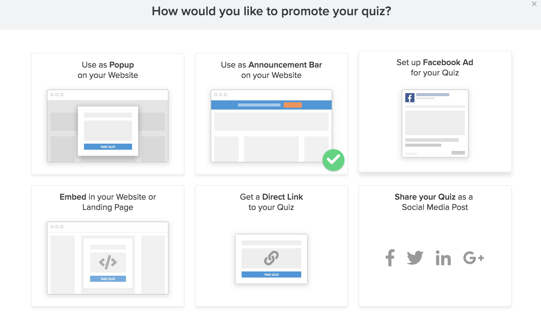 how would you like to promote your quiz