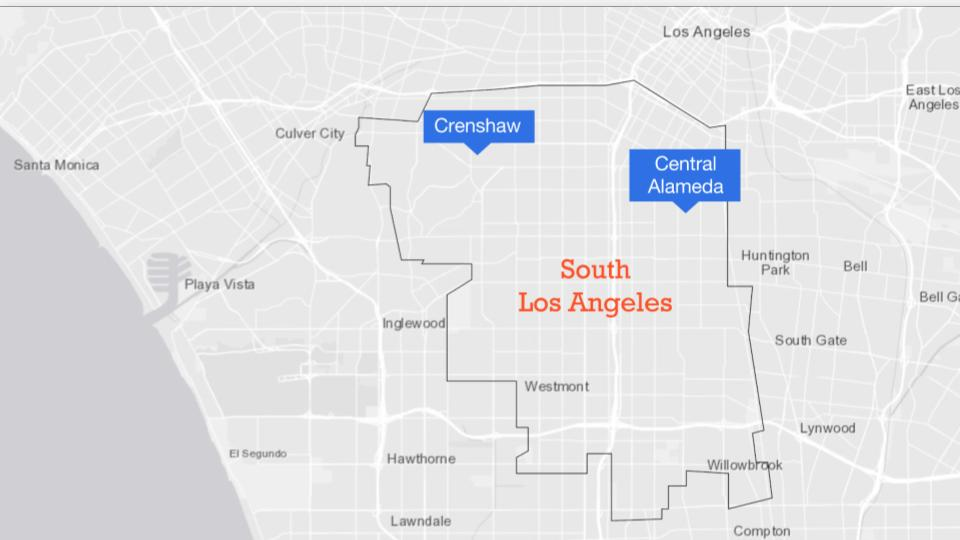 Map of South Los Angeles