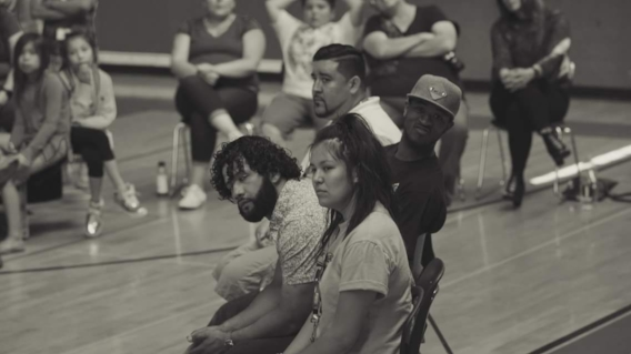 Miah Bearcub, Lou Era, T.S The Solution, and James Pakootas at Nespelem Elementary School