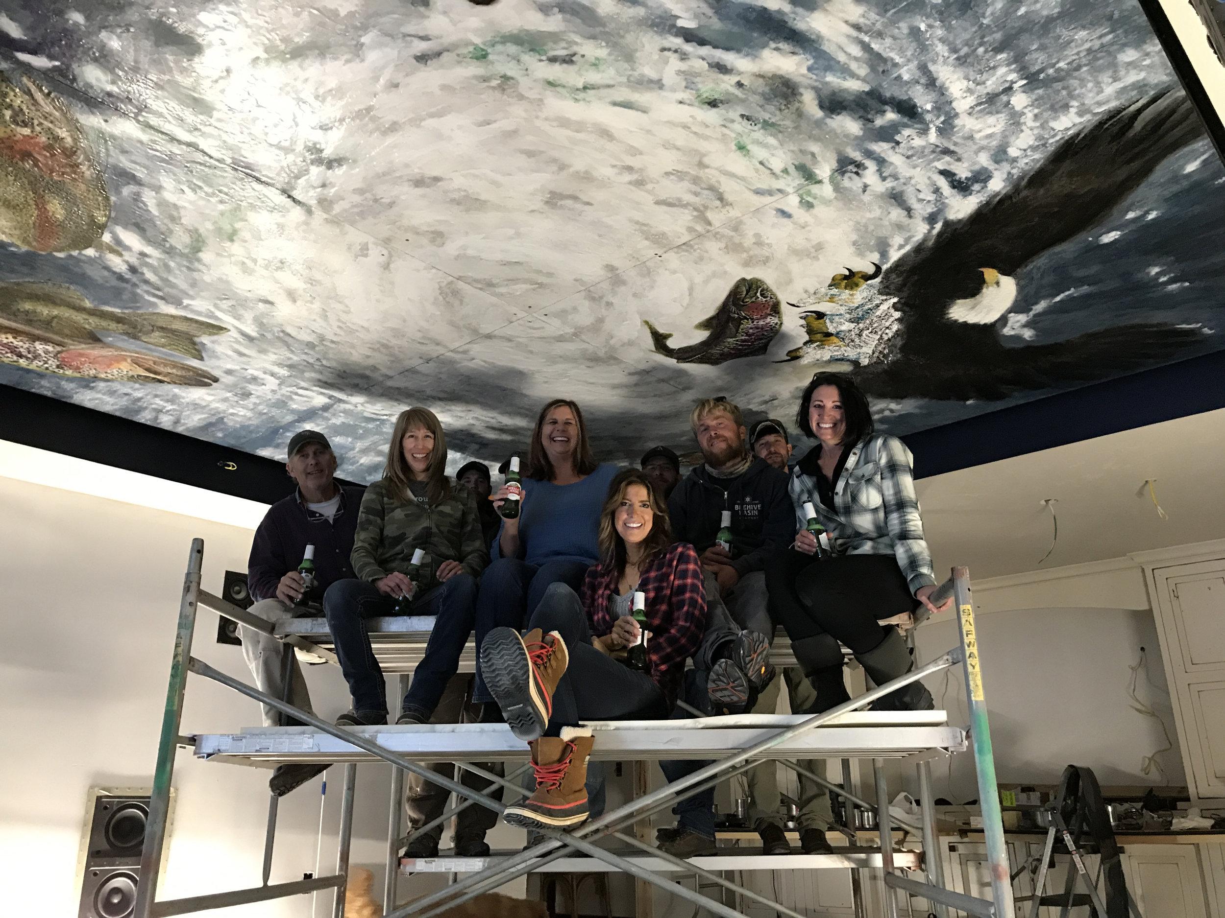 Encaustic celing mural montana trout Theresa Stirling