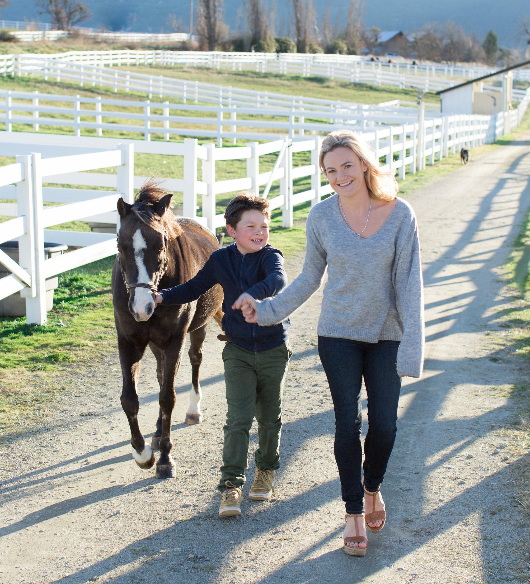Lara and her son at Silver Spring Farm, Oregon