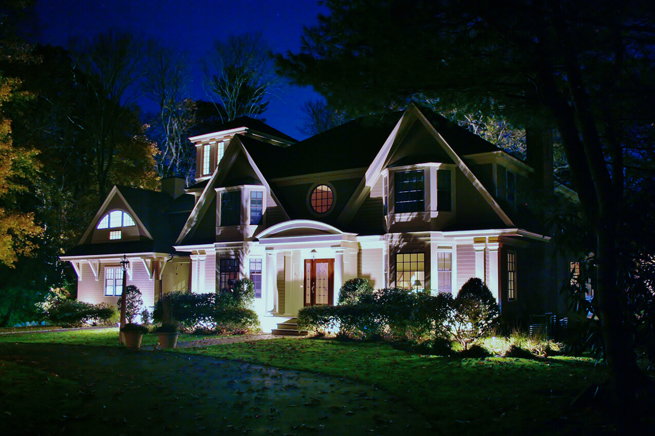 Uplighting on a beautiful house
