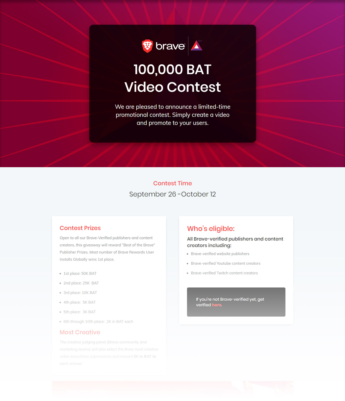 100k BAT Publisher Contest Campaign - Landing page design and creation, online banners, HTML email newsletter design and creation.