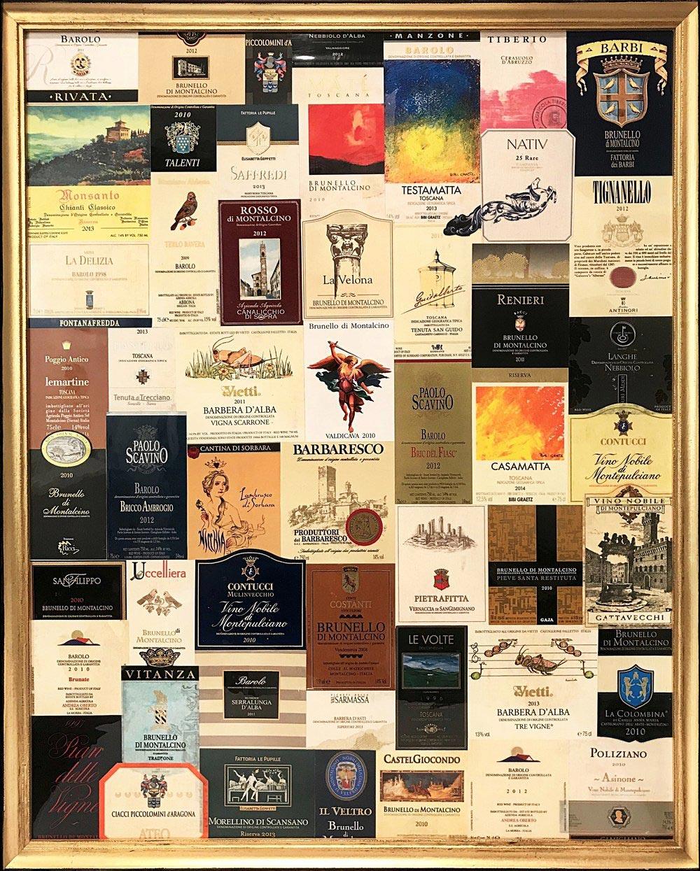 "Michael   2017  30"" x 24"" (76.2 x 61.0 cm)  wine label collage    $1.250"