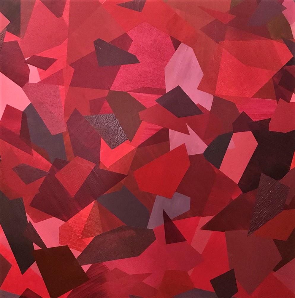 "Red VI   2018   44"" x 44"" (111.8 x 111.8 cm.)   acrylic on canvas"