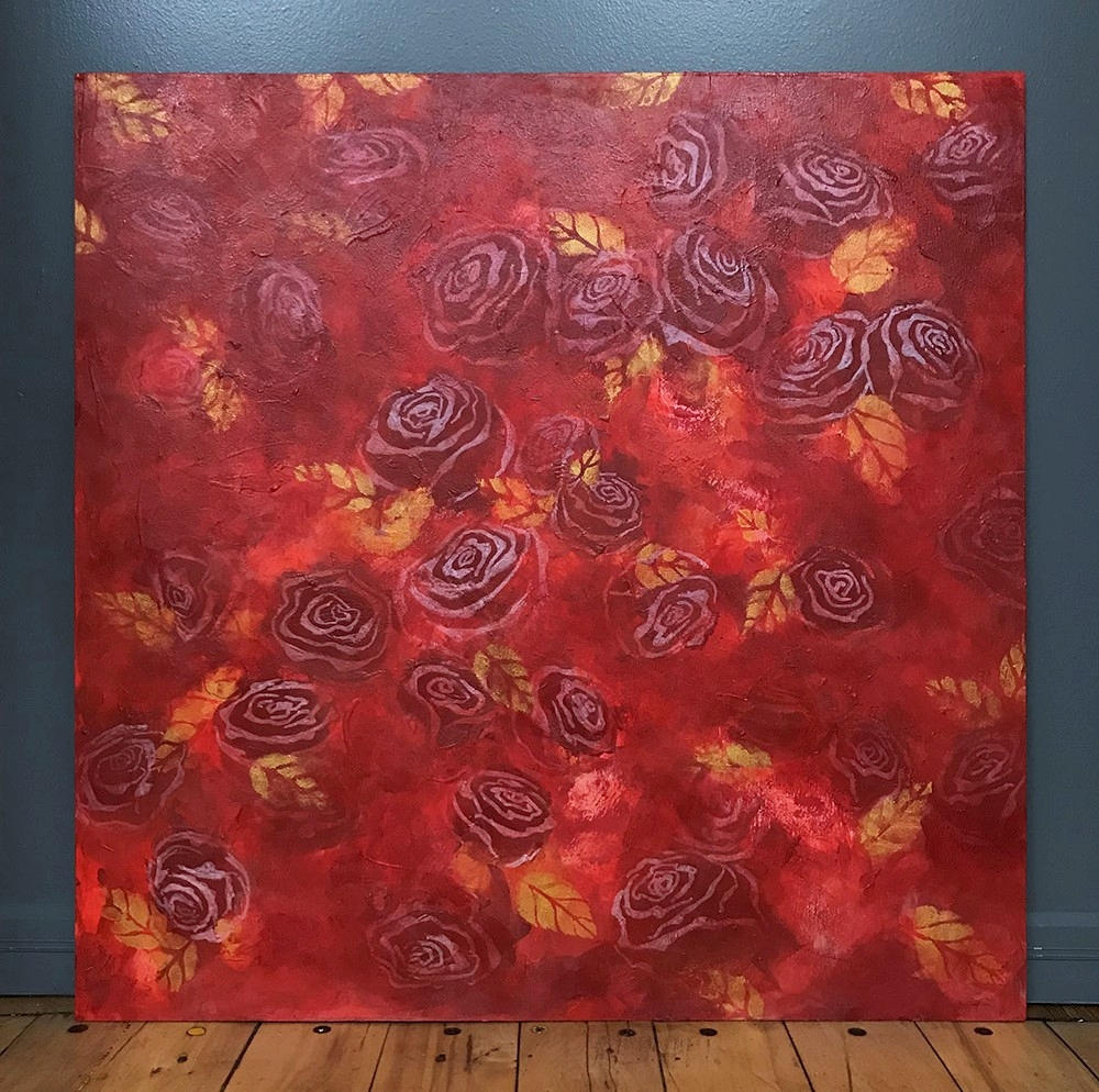 """Serendipity   2018  24"""" x 24"""" (61.0 x 61.0 cm)  acrylic on wood board (used for  Sunset on a Rose Garden  gown)   PRIVATE COLLECTION  🔴"""