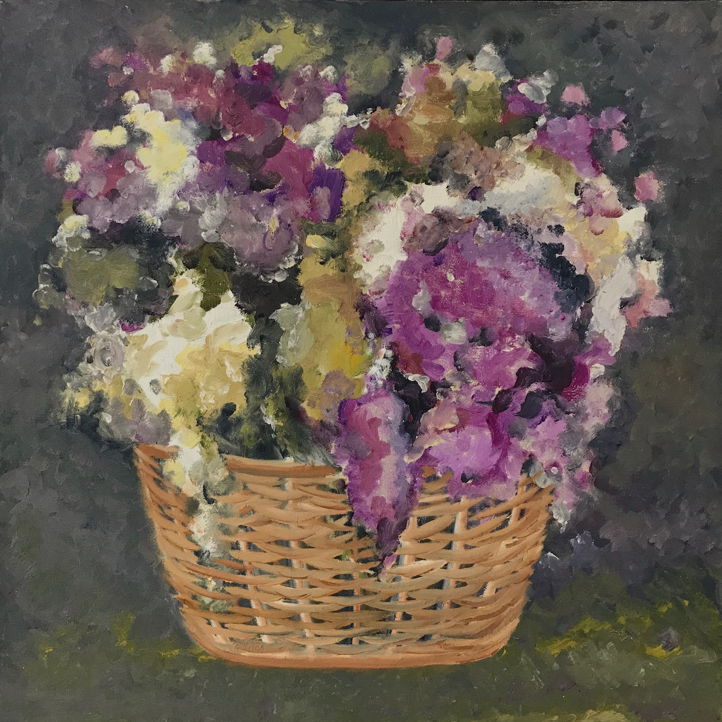 "Basket of Hydrangeas   2003 🔴 20"" x 20"" (50.8 x 50.8 cm)  oil on canvas   Manila, Philippines"