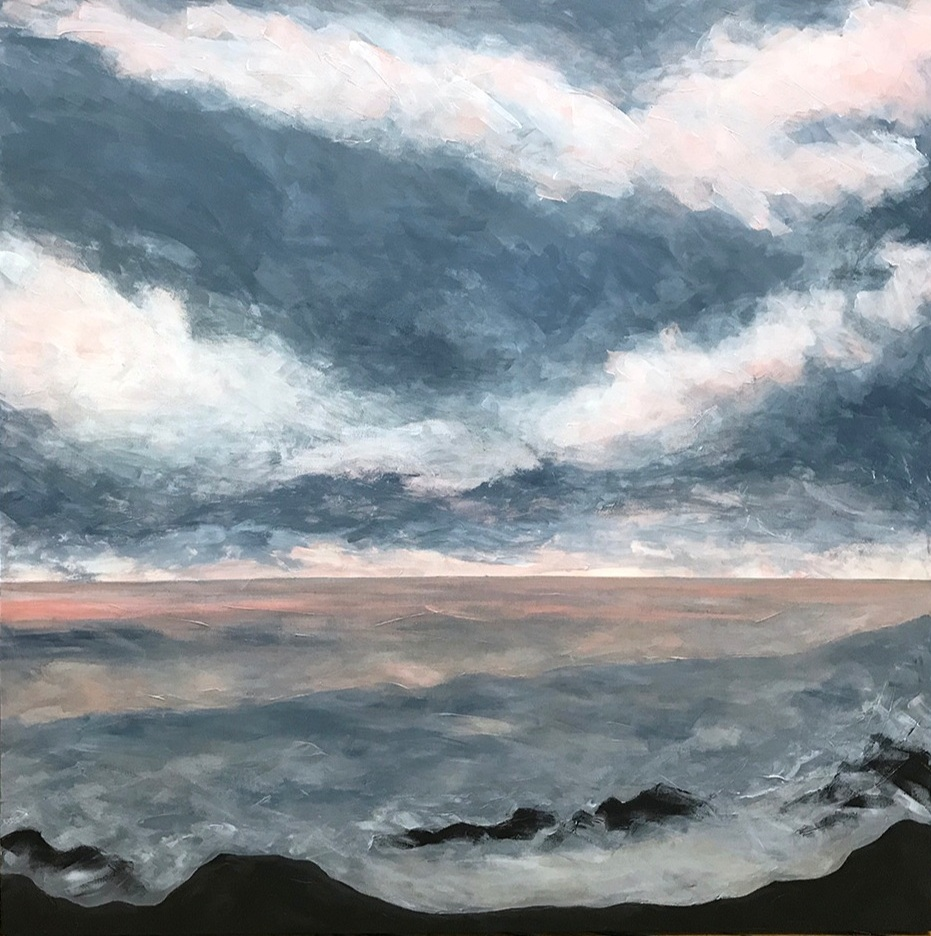 """Seascape XII   2018 48"""" x 48"""" (121.9 x 121.9 cm) acrylic on canvas   PRIVATE COLLECTION  🔴  Chapel Hill, North Carolina"""