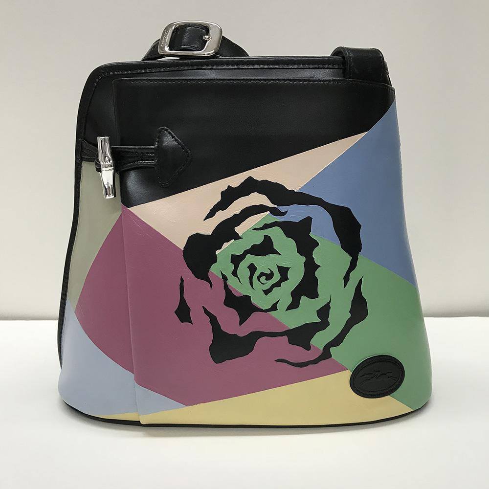 Georgia   2018 acrylic on leather bag   PRIVATE COLLECTION  🔴  San Francisco, California