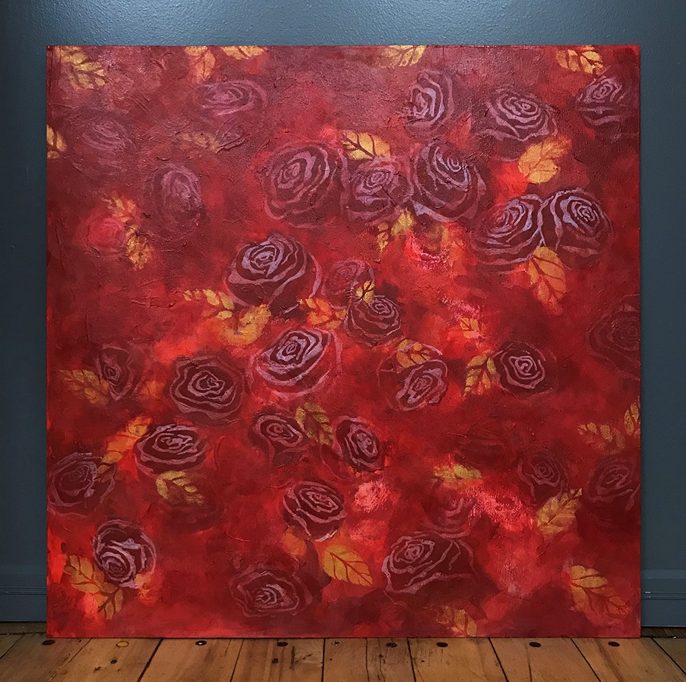 """Serendipity   2018  24"""" x 24"""" (61.0 x 61.0 cm)  acrylic on wood board (used for  Sunset on a Rose Garden  gown)   CHADWICK COLLECTION  🔴"""