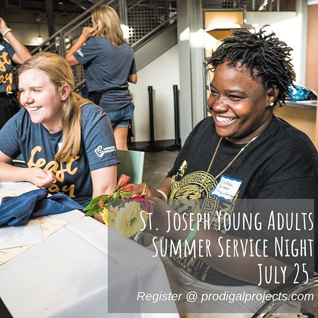 """Join us this Thursday for our 2nd Summer Service Night. We will be helping Prodigal Projects at their monthly """"Feast Day"""" to serve our homeless brothers and sisters. Sign up at prodigalprojects.com! #stjosephya #feastday"""