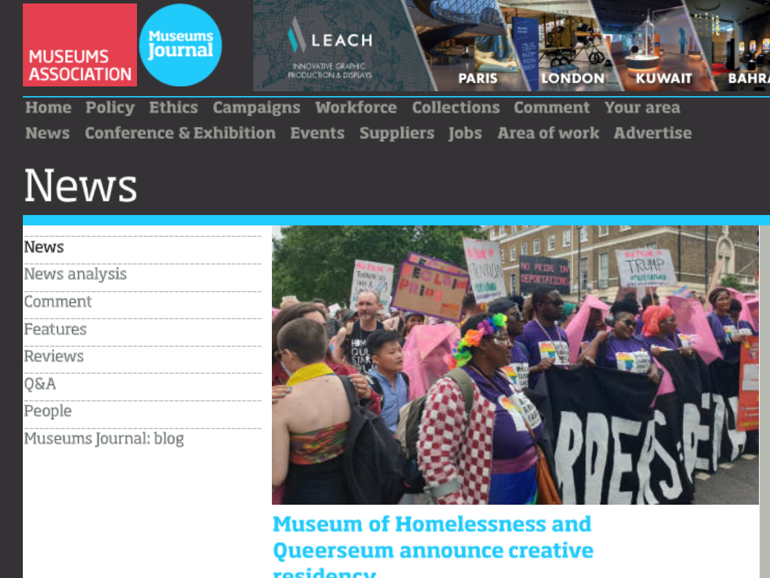 Queerseum & Museum Of Homelessness Move in Together - Announcement of Queerseum & MoH Museum creative residencies 07/08/19