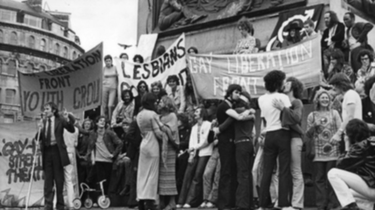 GAY LIBERATION FRONT - Demands that all discrimination against gay people, male and female, by the law, by employers, and by society at large, should end.Manifesto 1971