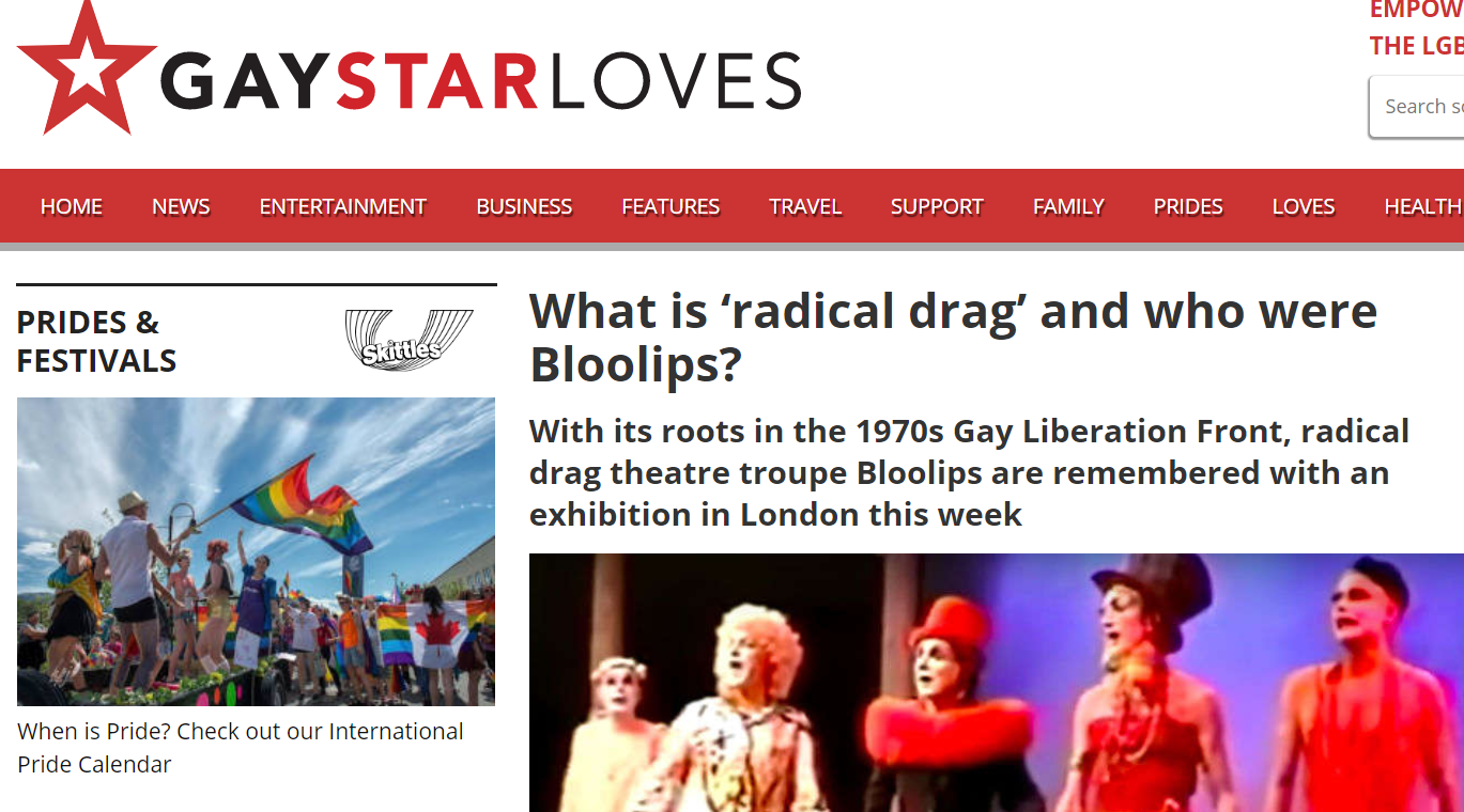 Exhibition Press - Queerseum in association with Queer Tours of London Pop Up Exhibition: Bloolips & Radical DragMaking An Exhibition of Ourselves.