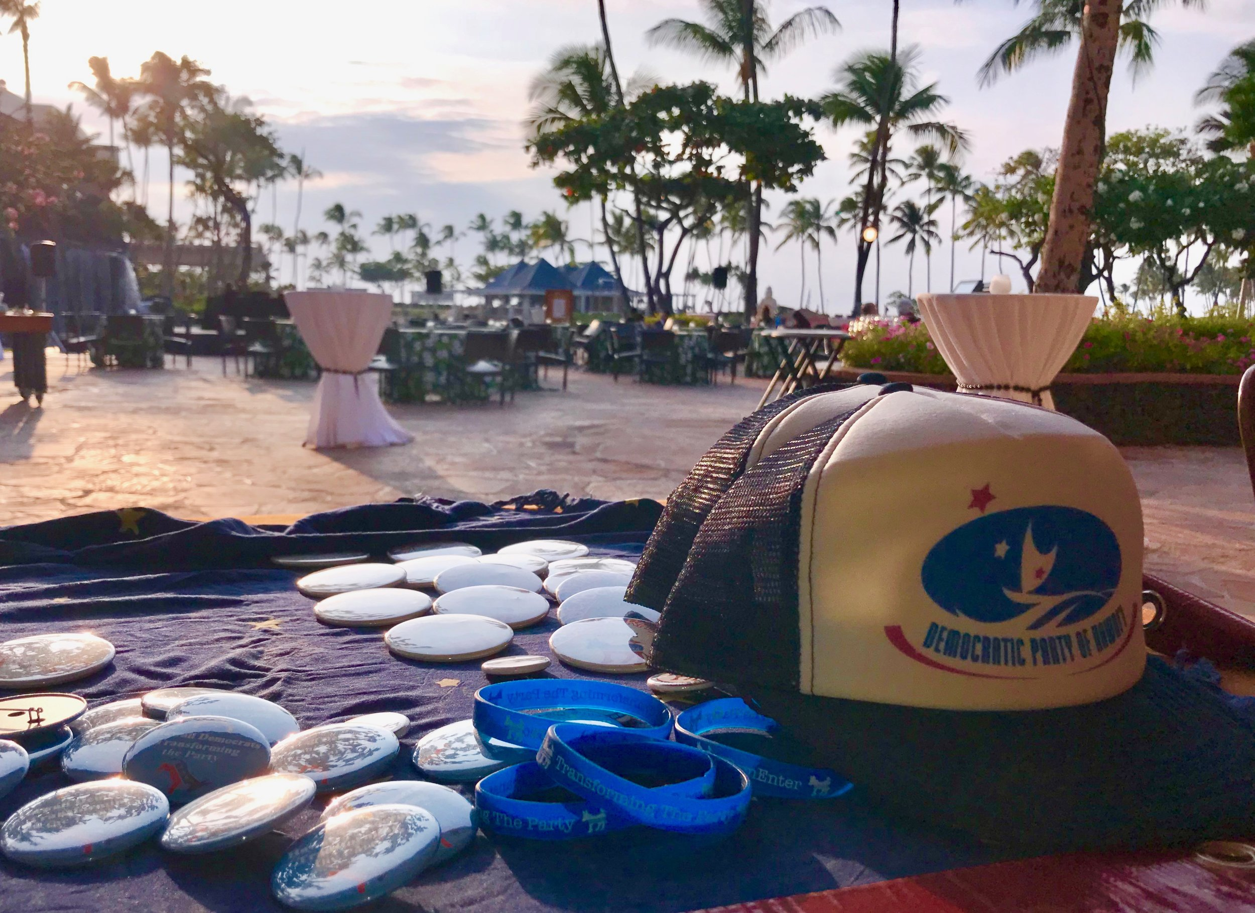 Swag from the 2018 State Convention, held for the first time ever on Hawai'i Island. A historic convention!