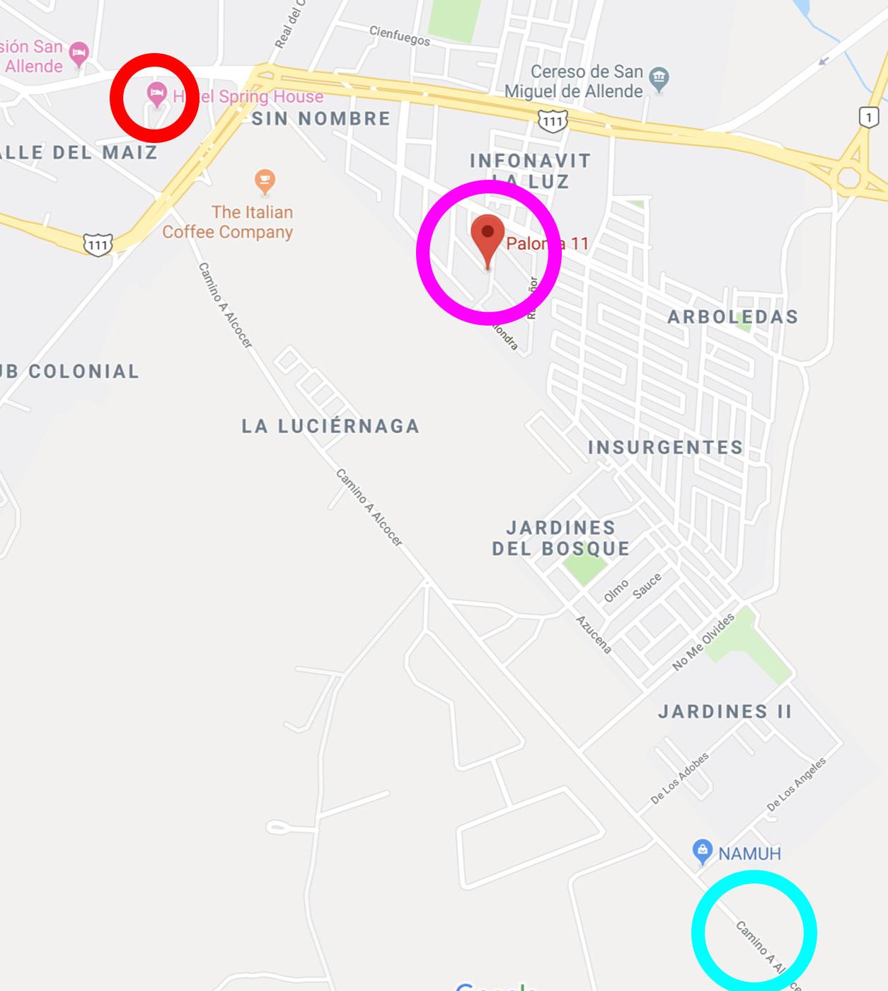 STUDIO, pink circle. JERRY'S HOME, blue circle. HOTEL CASA PRIMAVERA, red circle.