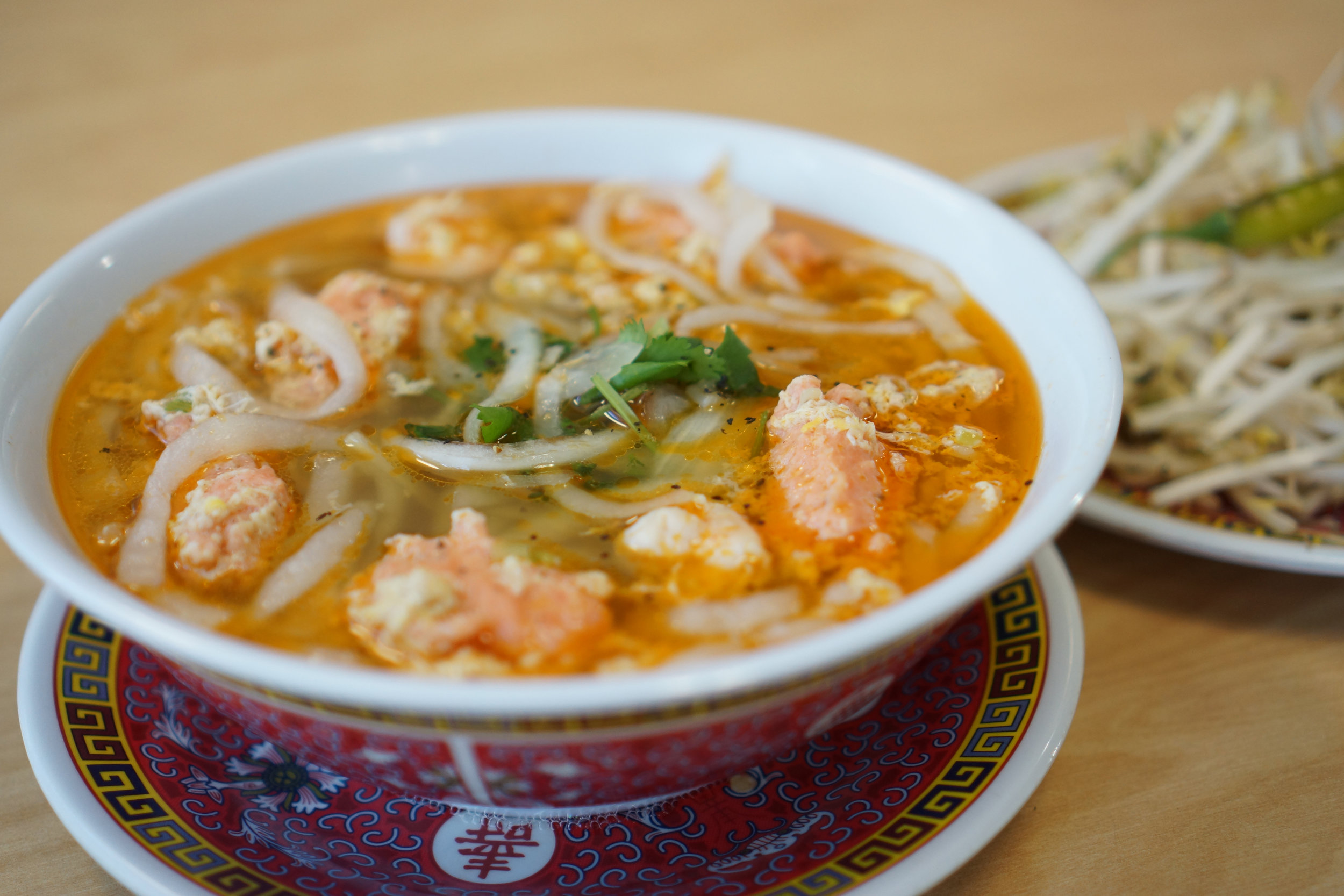 "Bánh Canh Tôm Cua - Royal ""udon"" noodle in a delicious slightly sweet clear broth with shrimp and shrimp balls"