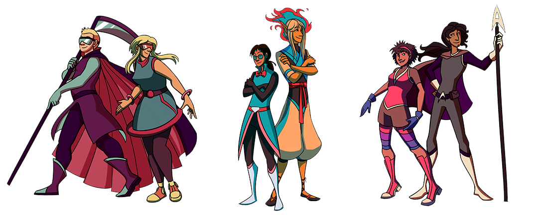 Left to Right: Gay Guillotine, Laser Lesbian, Transgender Timebender, Pansexual Paragan, Bi Bullet and Ace Avenger.