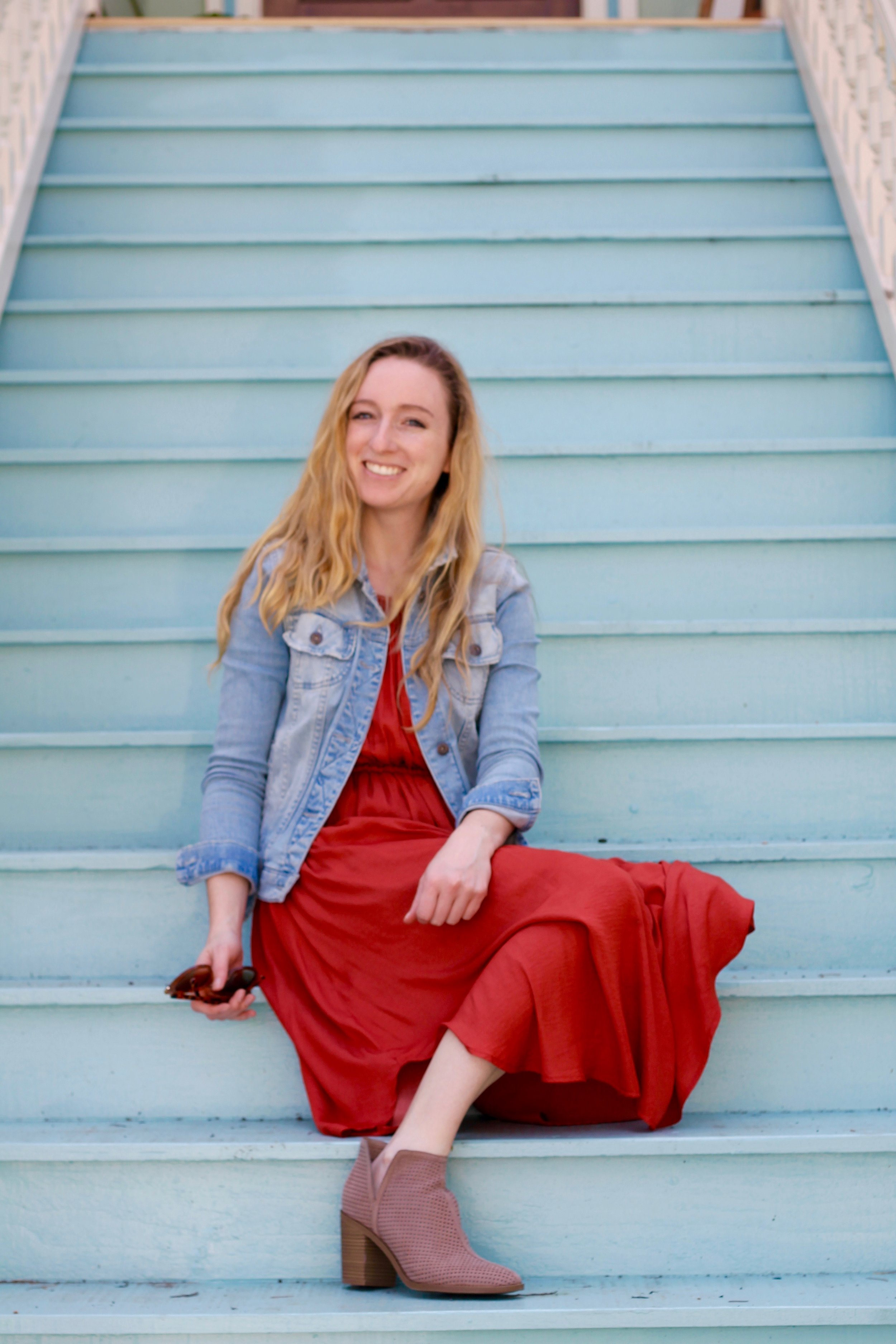 Hey there it's me, Allie! Here I am posing on one of the cute old Victorian steps in Midtown!