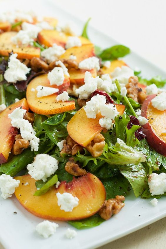 Peach, goat cheese and candied walnut salad - Sign. Me. Up. I made this the other night and it was a huge crowd pleaser and so simple to make.