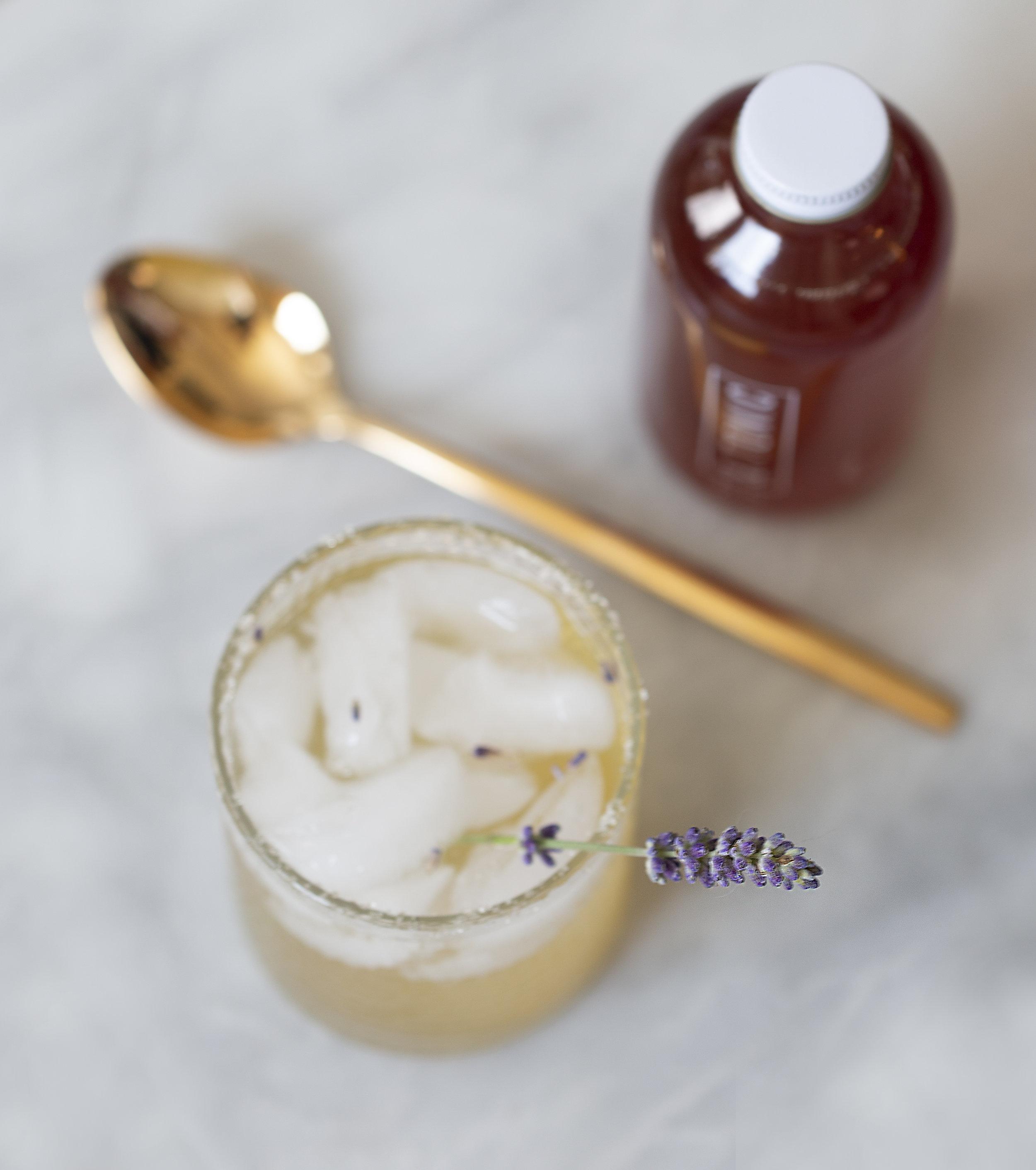 Honey lavender cocktail - 2 oz. Cognac1 1/2 oz. lemon juice3/4 oz. &Tonic3/4 oz. lavender honeyLavender to garnish