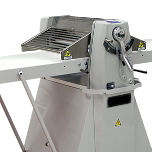 Floor Model Reversible Dough Sheeter - LAM Reversible Floor Sheeter is the definitive multi-task solution for your bakery. It's perfect for laminated dough, cookies, pie crusts, fondant, dog treats, donuts a lot more! Large rollers for large dough capacity this sheeter will provide you with consistent, quality production. With the easy-to-read digital display it shows precisely the sheeting thickness. At the end of the day, removable polyethylene scrapers make cleaning the sheeter a snap. Additionally, it has a folding design and foot lever activated rollers to allow for easy storage. You also can choose from an array of cutting attachments to increase efficiency in dividing the products.