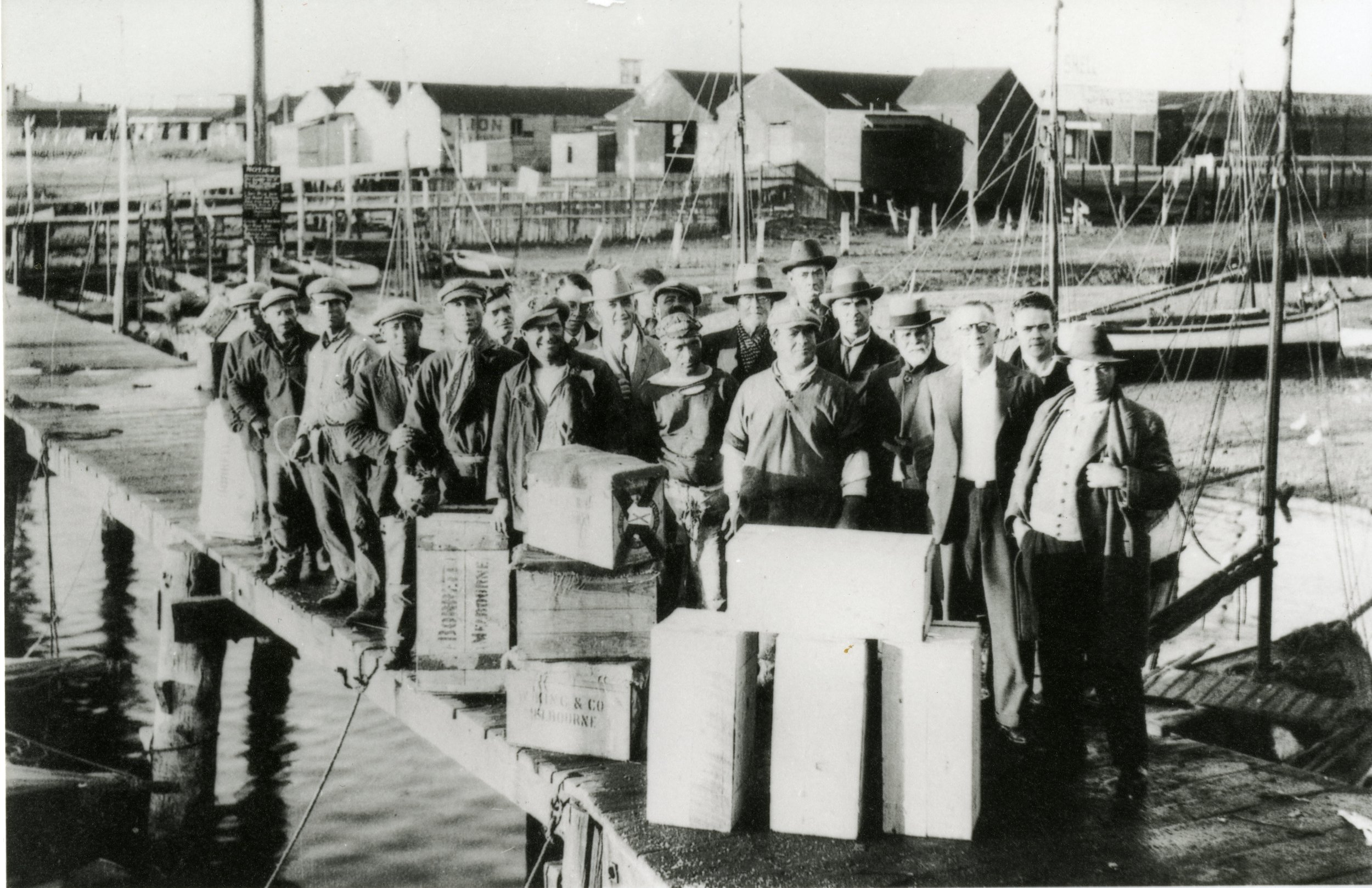 Mostly Molfettese fishermen and agents on the Port Pirie wharves in the 1930s.  PN03335 Migration Museum Collection