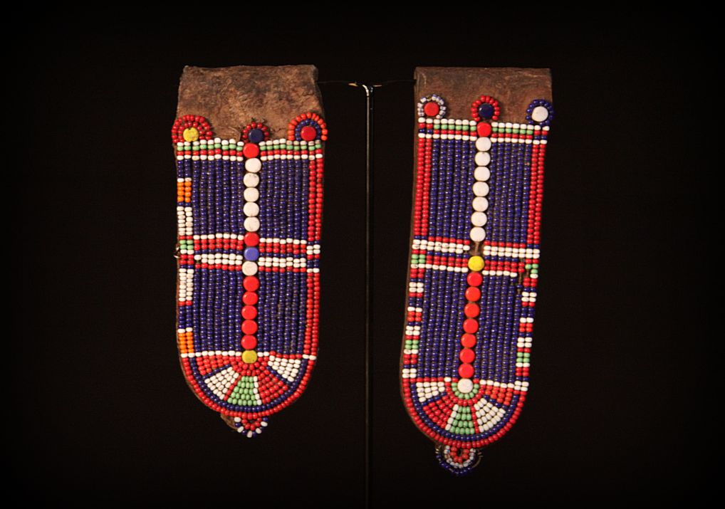 Antique Leather Maasai Women's Ear Flap Earrings. Note Also known as Gonito. Maasai Tribe. East Africa .jpg