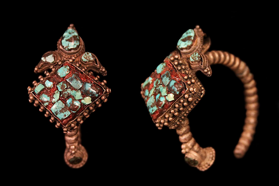 Large Single Earring. Note turquoise stone inlay. Tibet.jpg