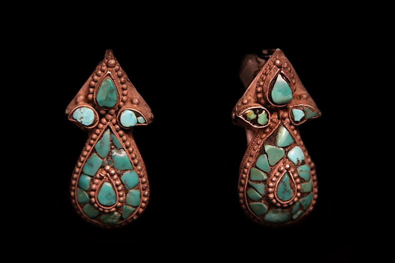 Mid 20th Century Tibetan women silver earrings. Note turquoise stone inlays. Tibet.jpg