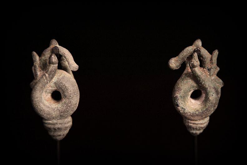 Rare Sculptured Metal Earrings. Cambodia.jpg