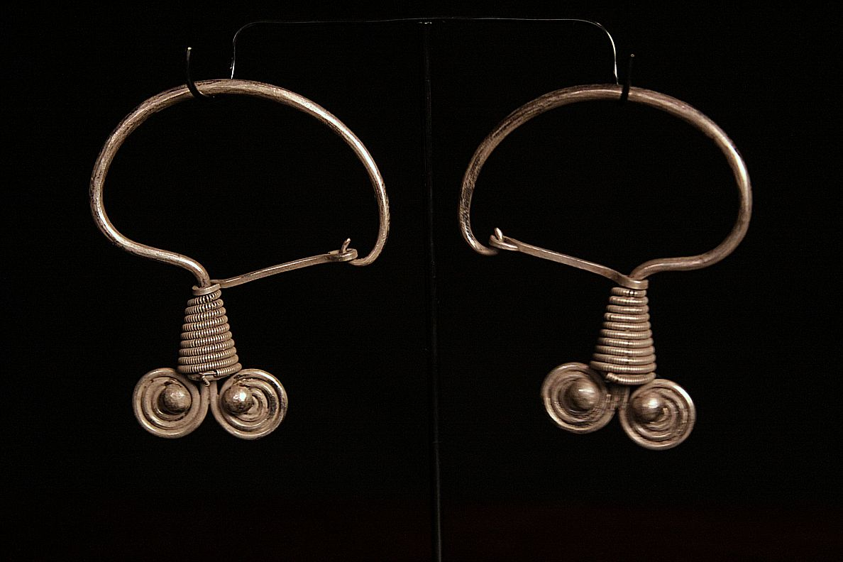 Antique Silver Earrings. Note intricate clasp. Miao Tribe. Southern China.jpg