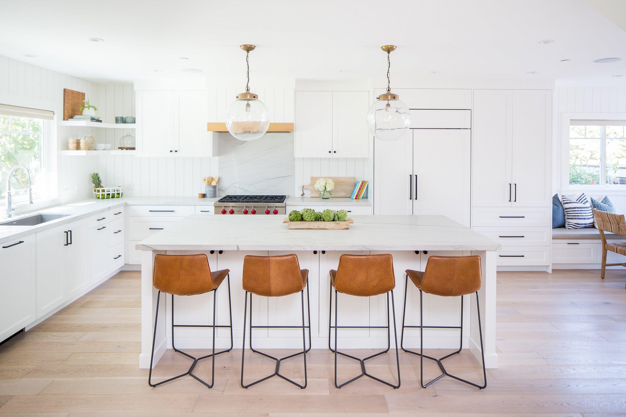Roca Vista Residence - Coastal White Kitchen by San Clemente-based interior designer Allison Merritt Design