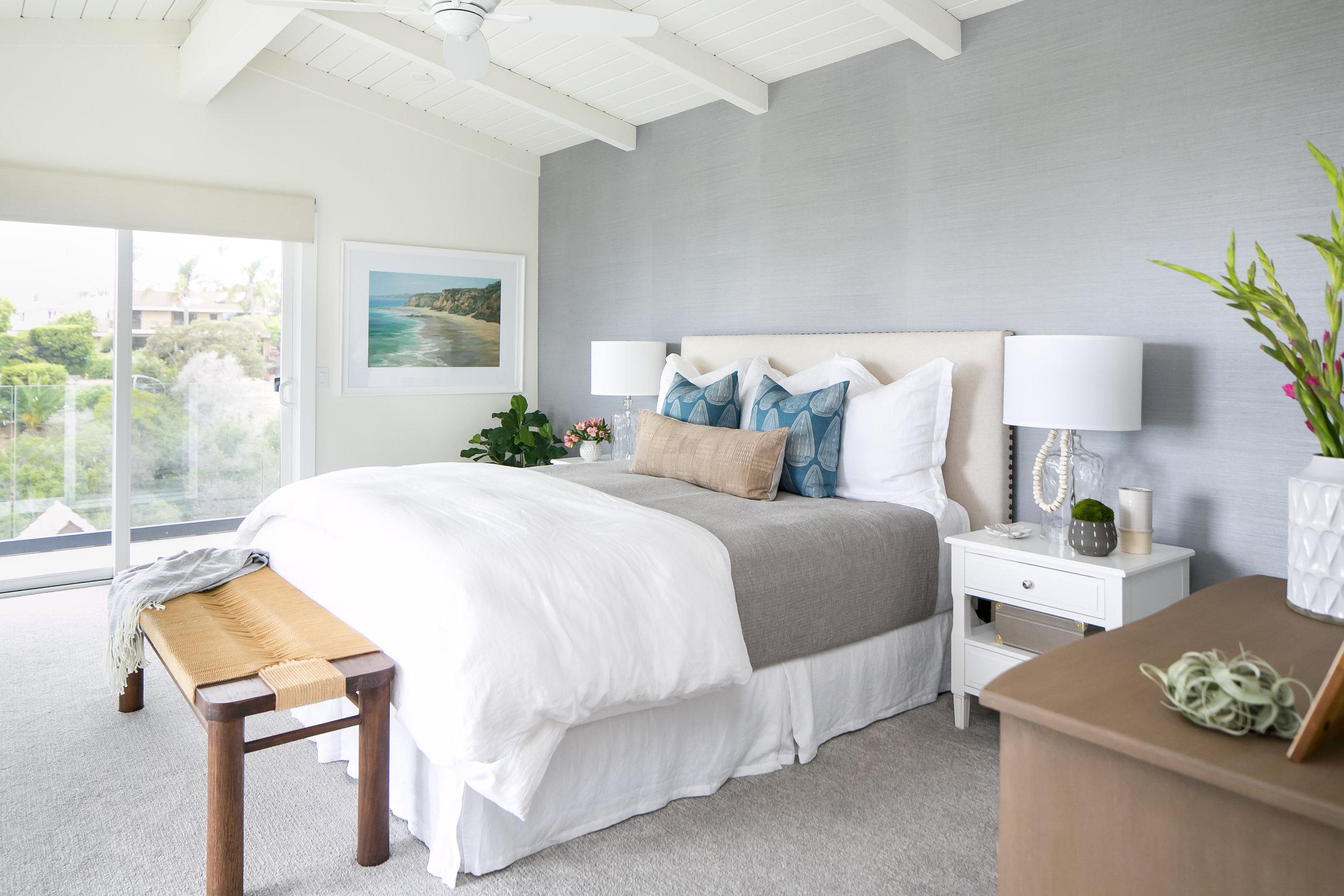 Gaviota Residence - Coastal Master Bedroom by San Clemente-based interior designer Allison Merritt Design
