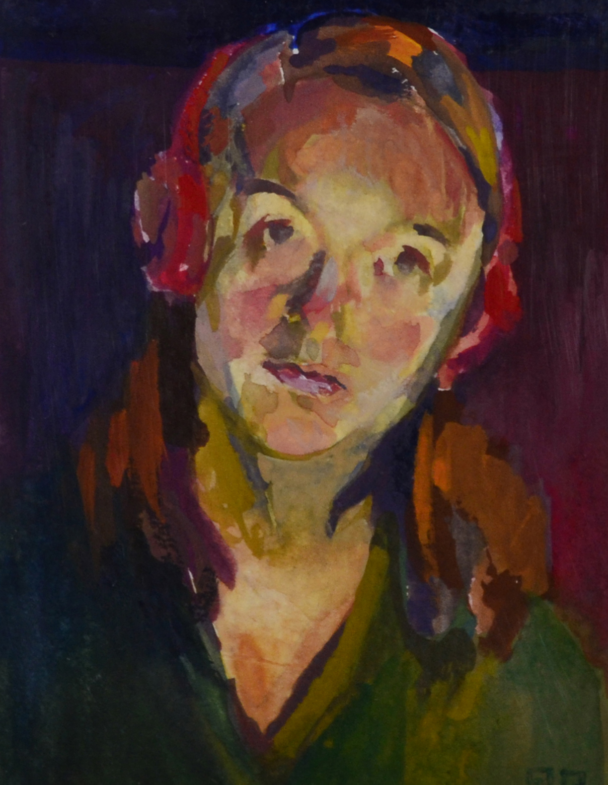 Self-portrait by desk light