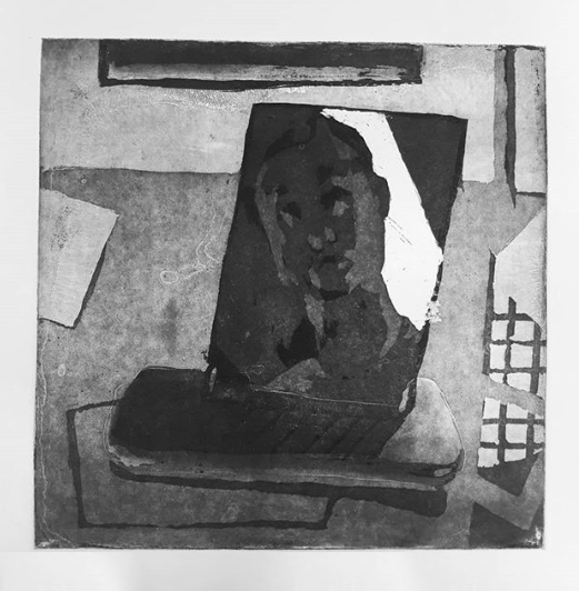 Self-portrait in the print room